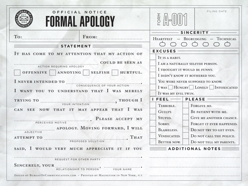 The Bureau of Communication Fillintheblank Correspondence – How to Make an Apology Letter